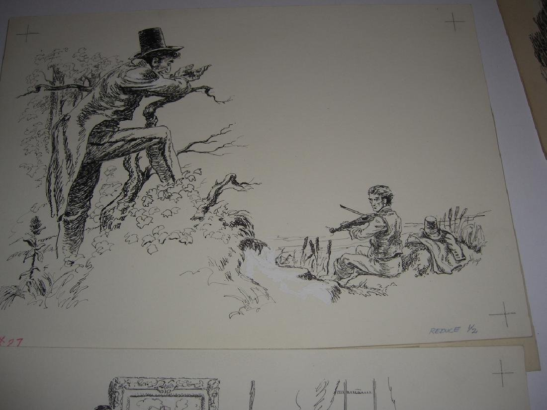 6 original pen & ink, & pencil drawings - 10