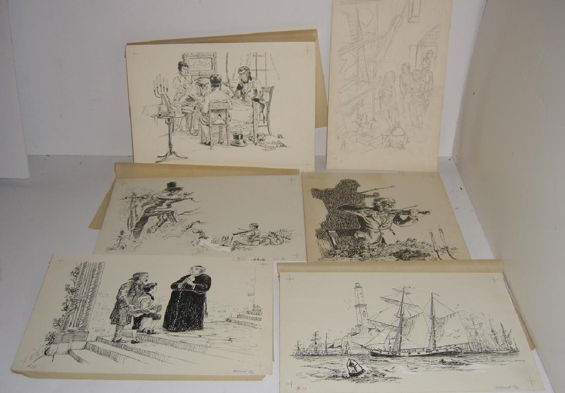 6 original pen & ink, & pencil drawings