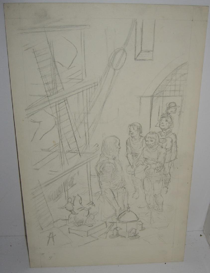 6 original pen & ink, & pencil drawings - 4