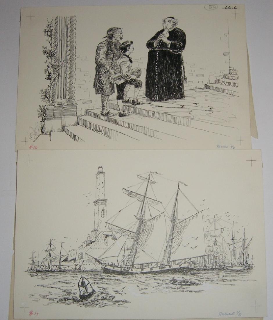 6 original pen & ink, & pencil drawings - 6