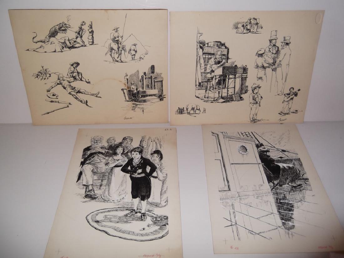 4 original pen & ink drawings