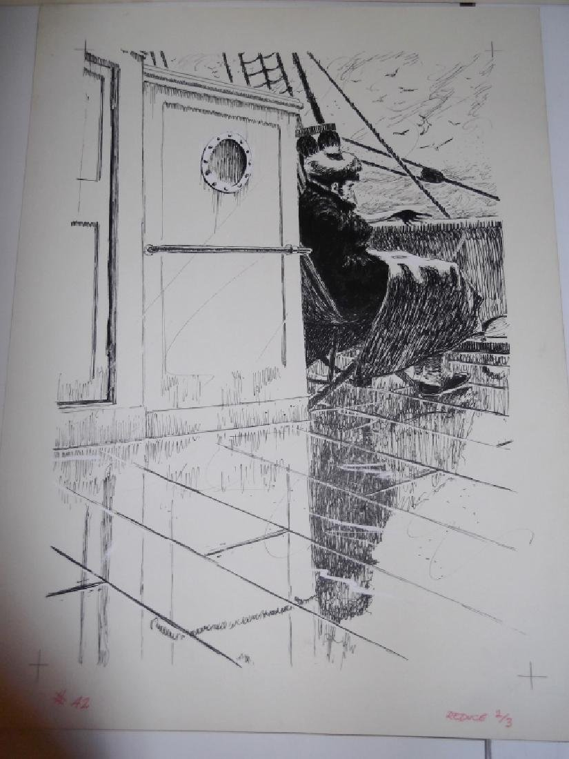 4 original pen & ink drawings - 4
