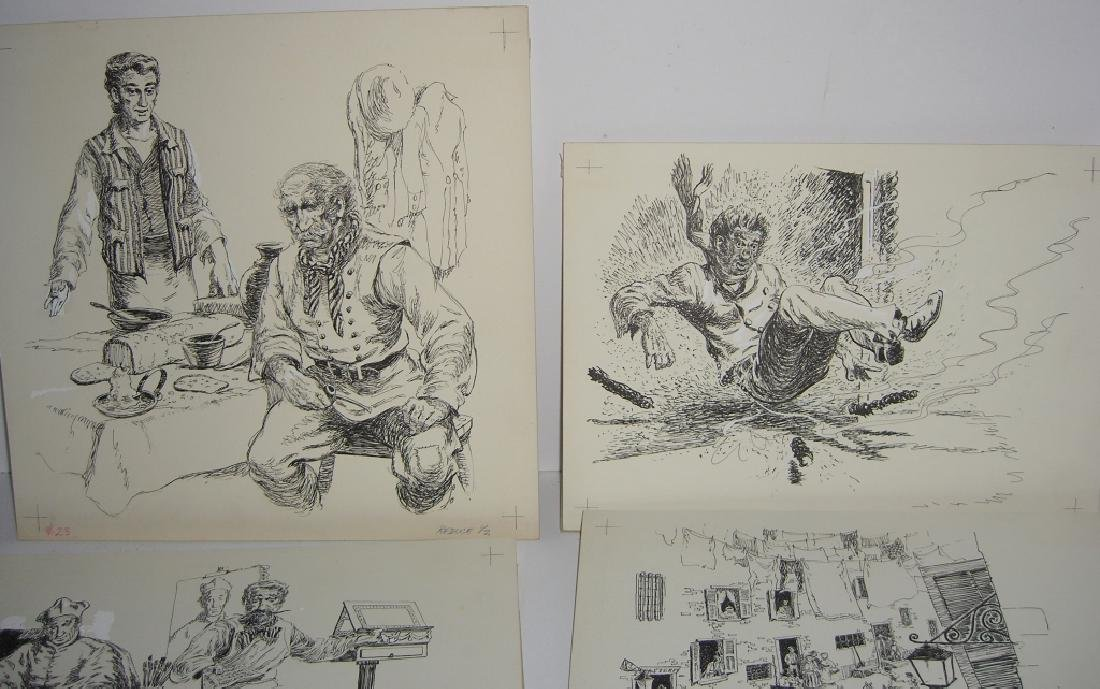 6 original pen & ink, & pencil drawings - 5