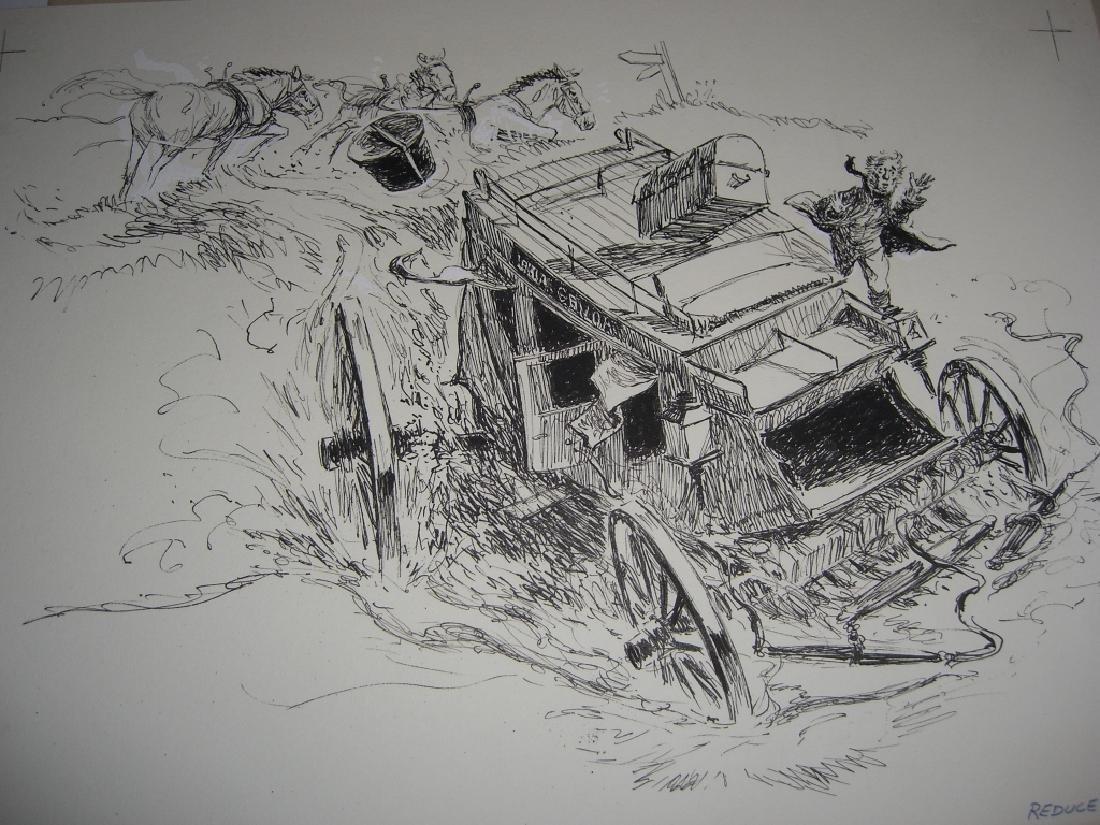 6 original pen & ink, & pencil drawings - 7