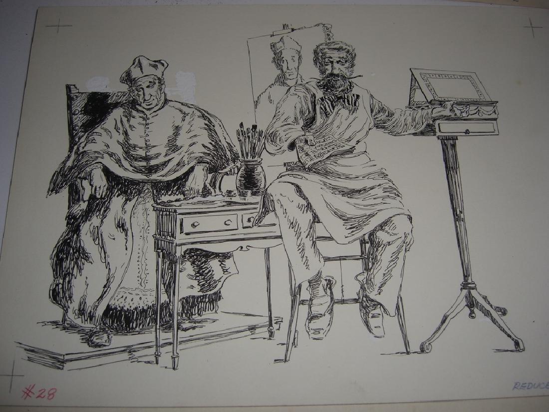6 original pen & ink, & pencil drawings - 8