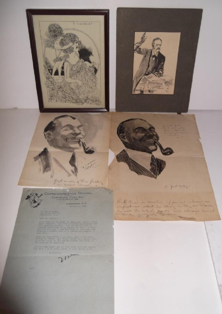 4 original 20th c. illustration drawings