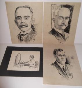 4 original pen & ink portrait drawings