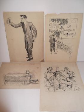 4 original pen & ink illustration drawings