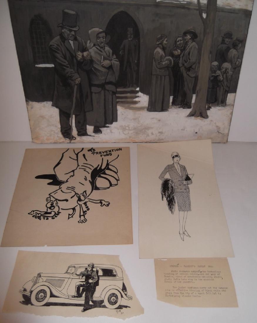 4 original  illustration drawings