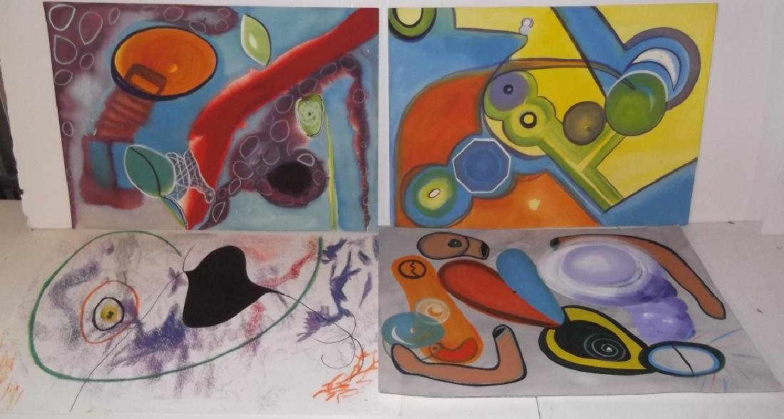 4 Mixed Media Abstract drawings