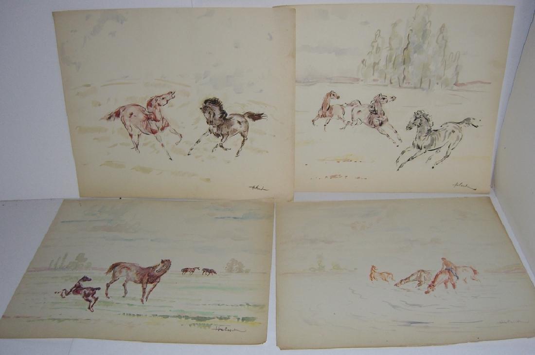 4 horse prints by  Holesch