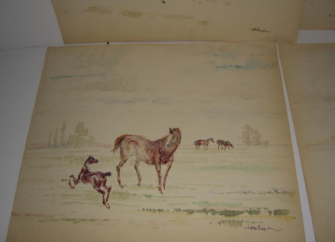 4 horse prints by  Holesch - 4