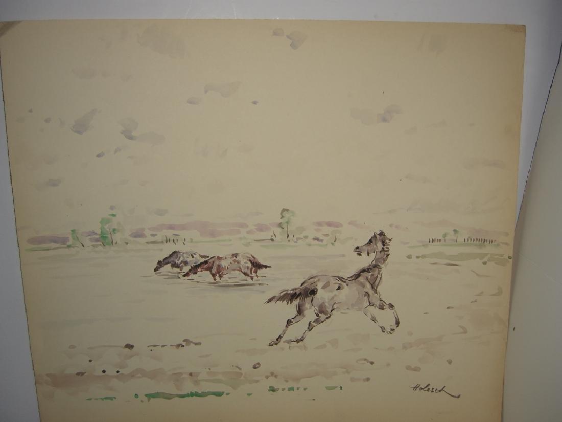 4 horse prints by  Holesch - 2