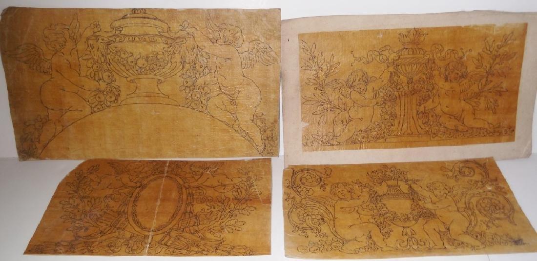 4 vintage cherub drawings