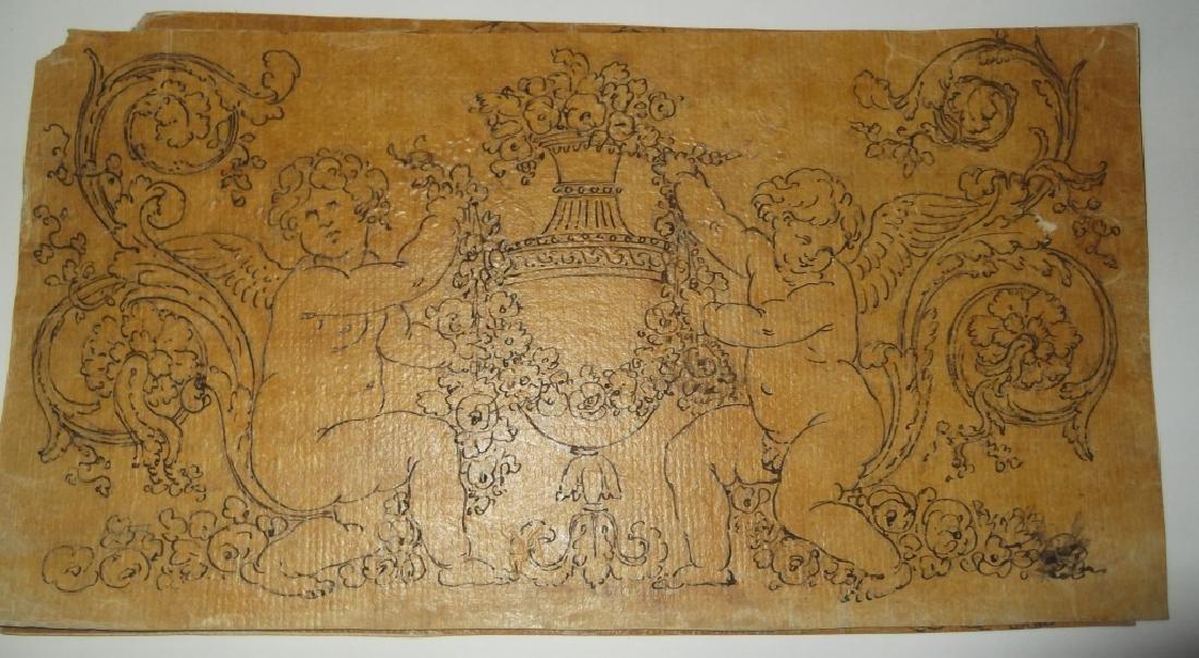 4 vintage cherub drawings - 2