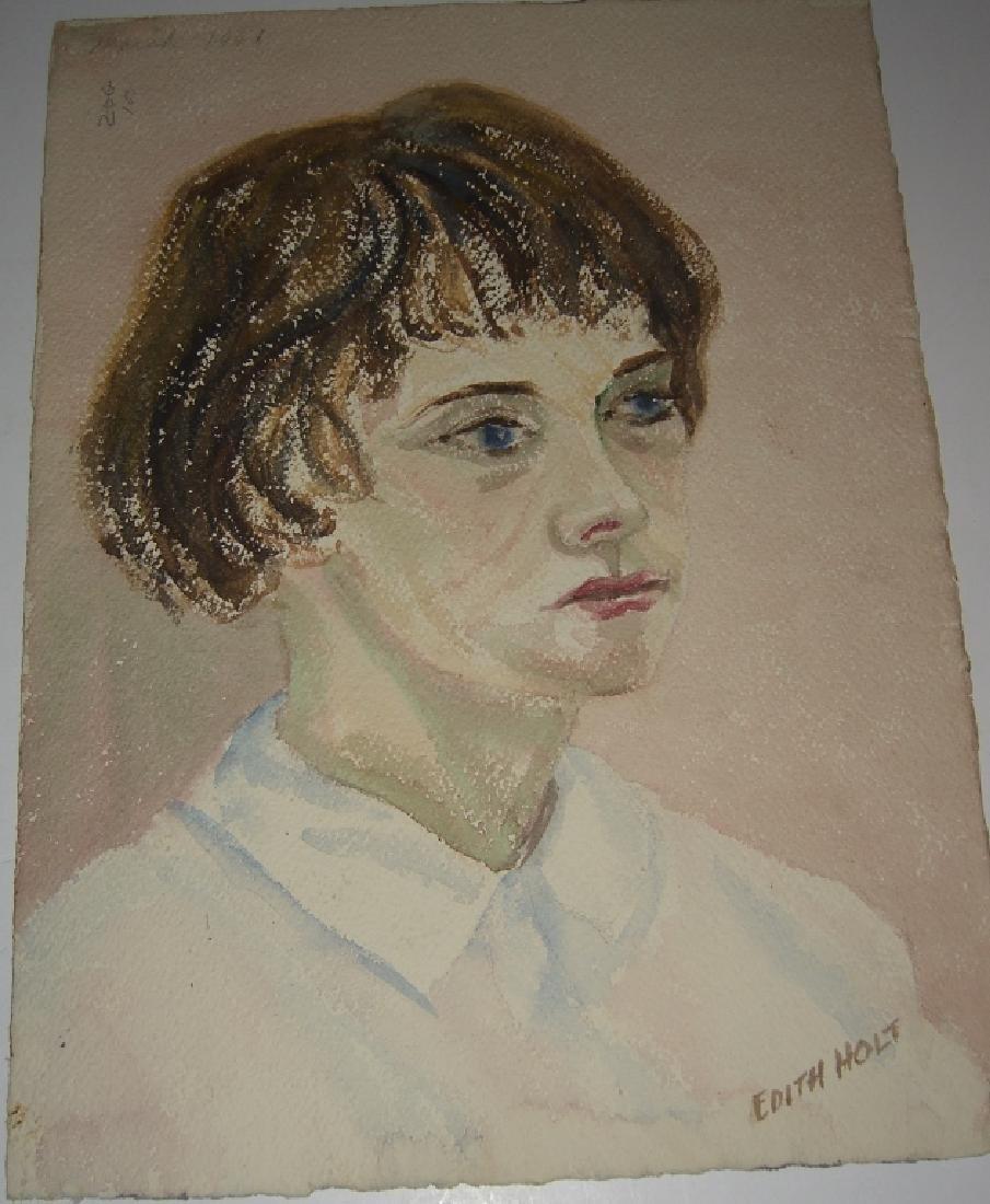 6 watercolor portrait  paintings - 10
