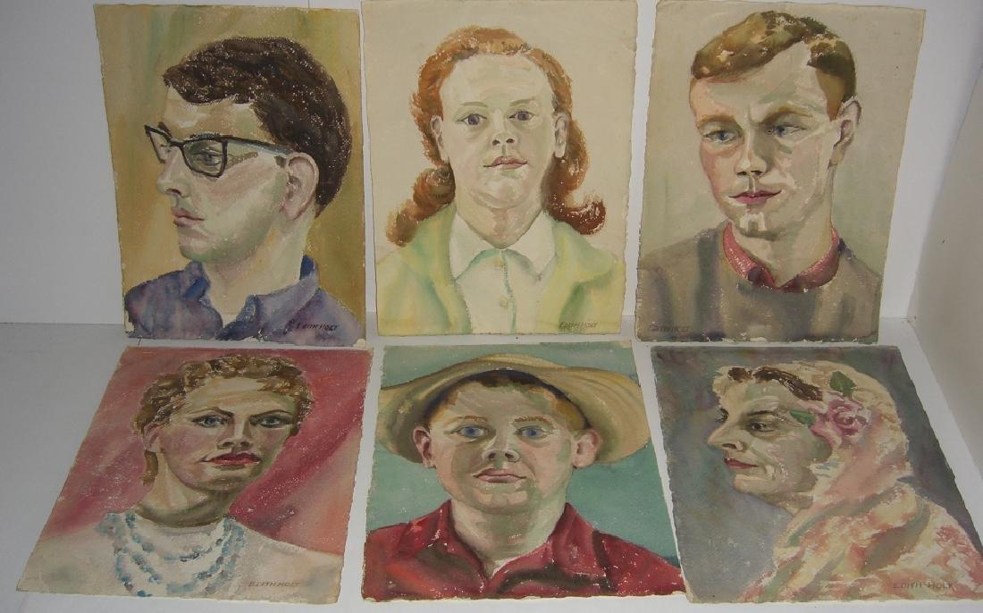 6 watercolor portrait  paintings