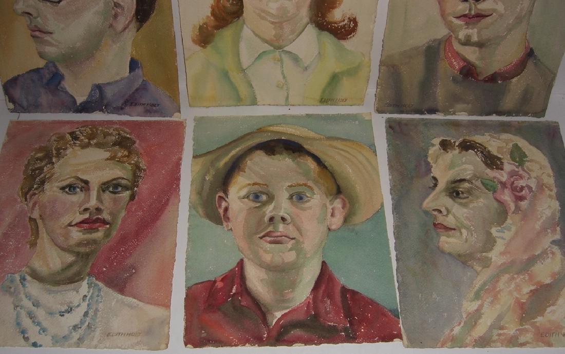 6 watercolor portrait  paintings - 2