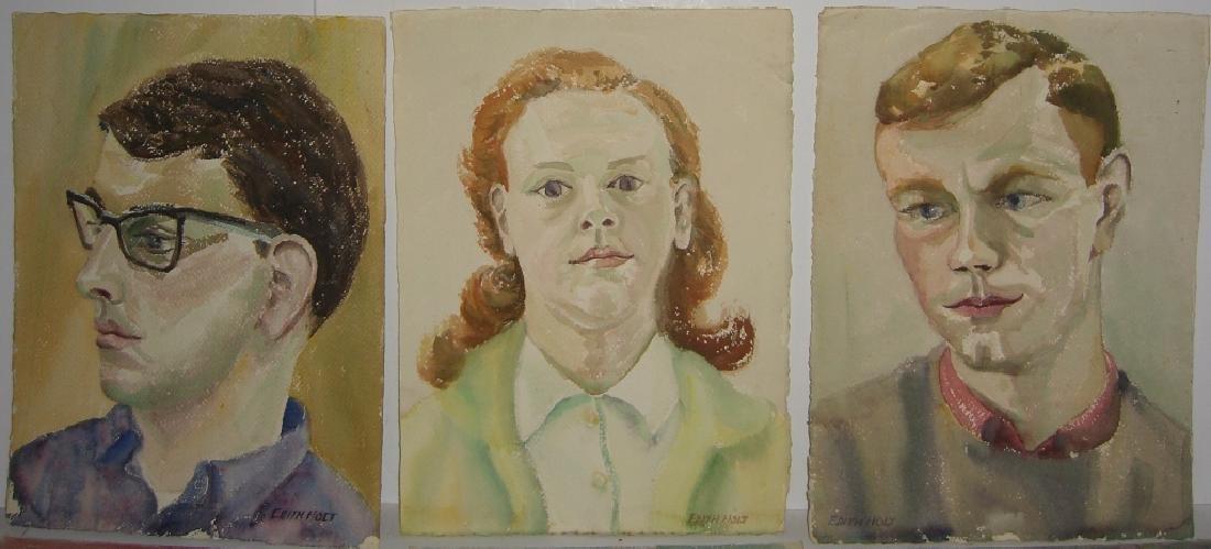 6 watercolor portrait  paintings - 3