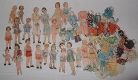 Collection of paper doll cut outs with clothing