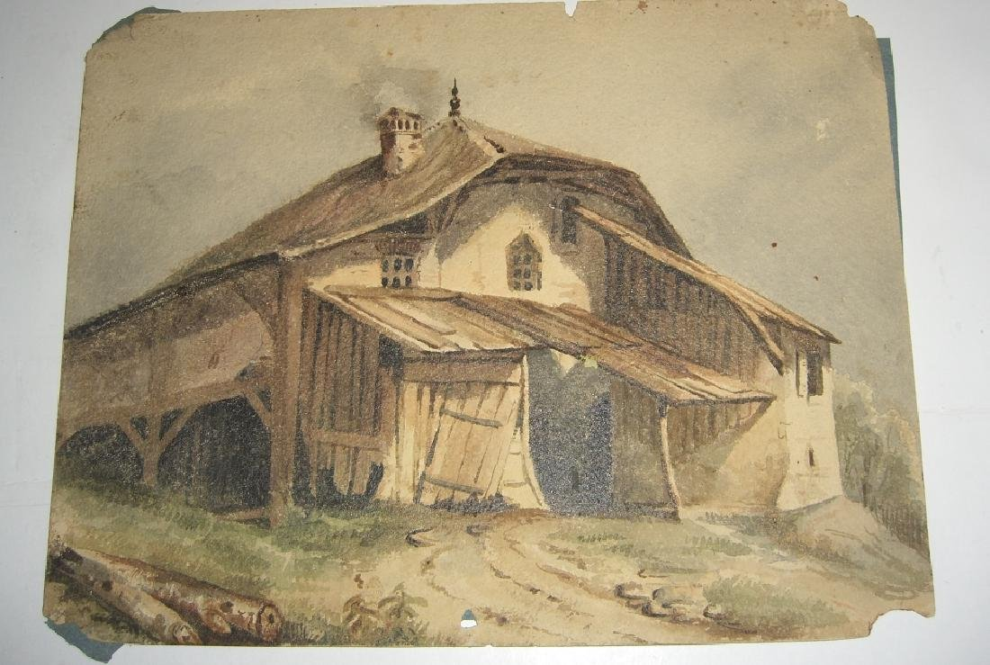 4 19th/20th c. watercolors - 5
