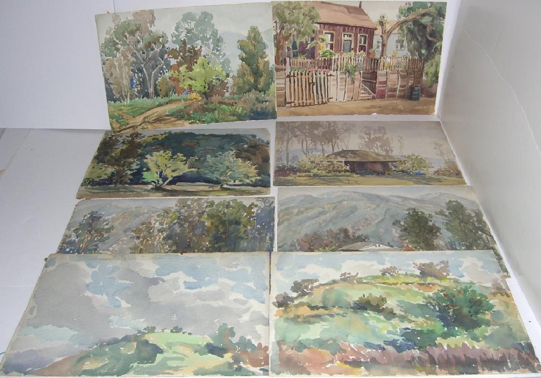 8 watercolor landscape paintings