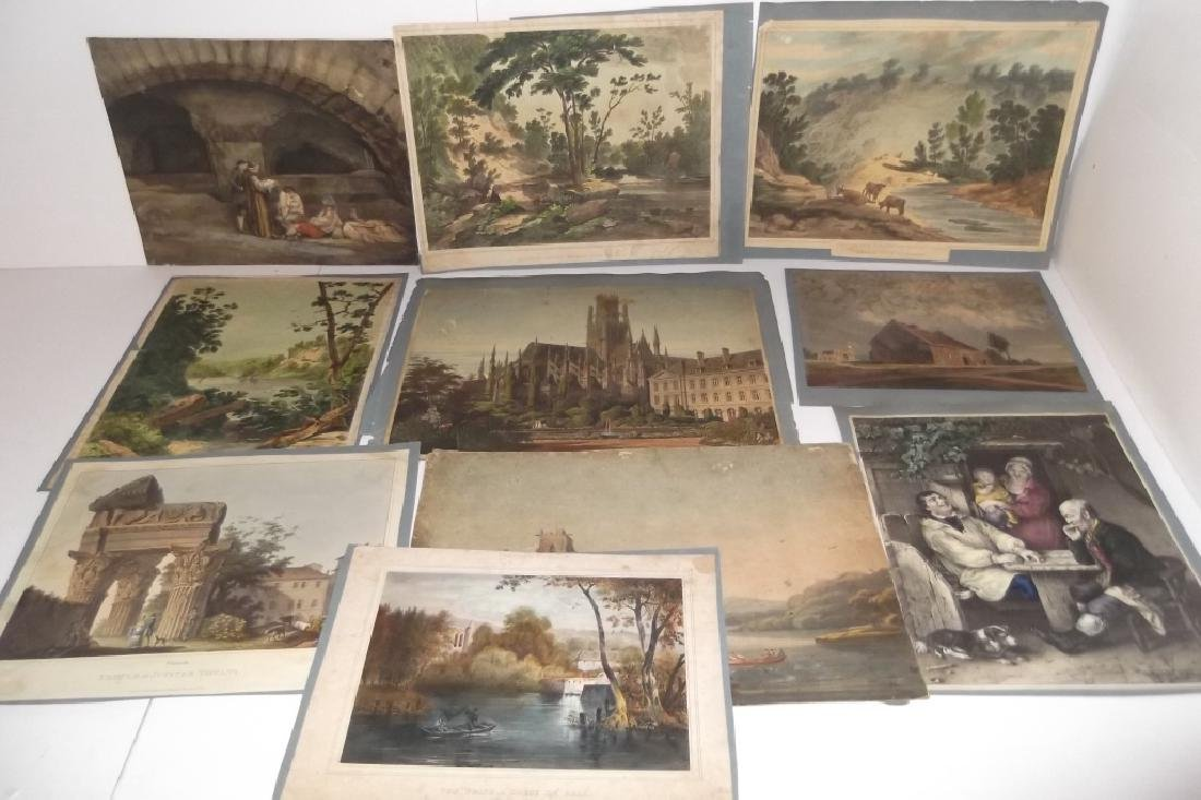 10 19th/20th c. colored etchings/engravings