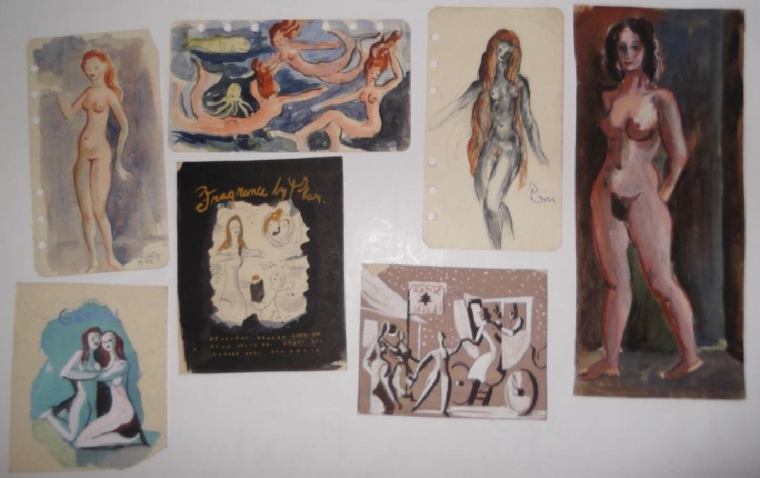 30 20th c. original mixed media drawings/sketches - 10