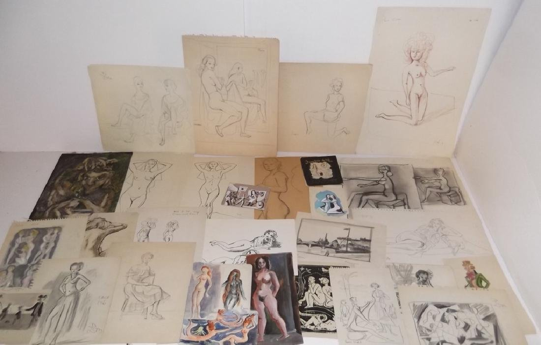 30 20th c. original mixed media drawings/sketches