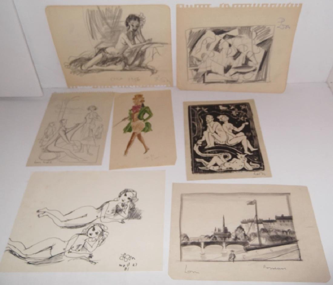 30 20th c. original mixed media drawings/sketches - 2
