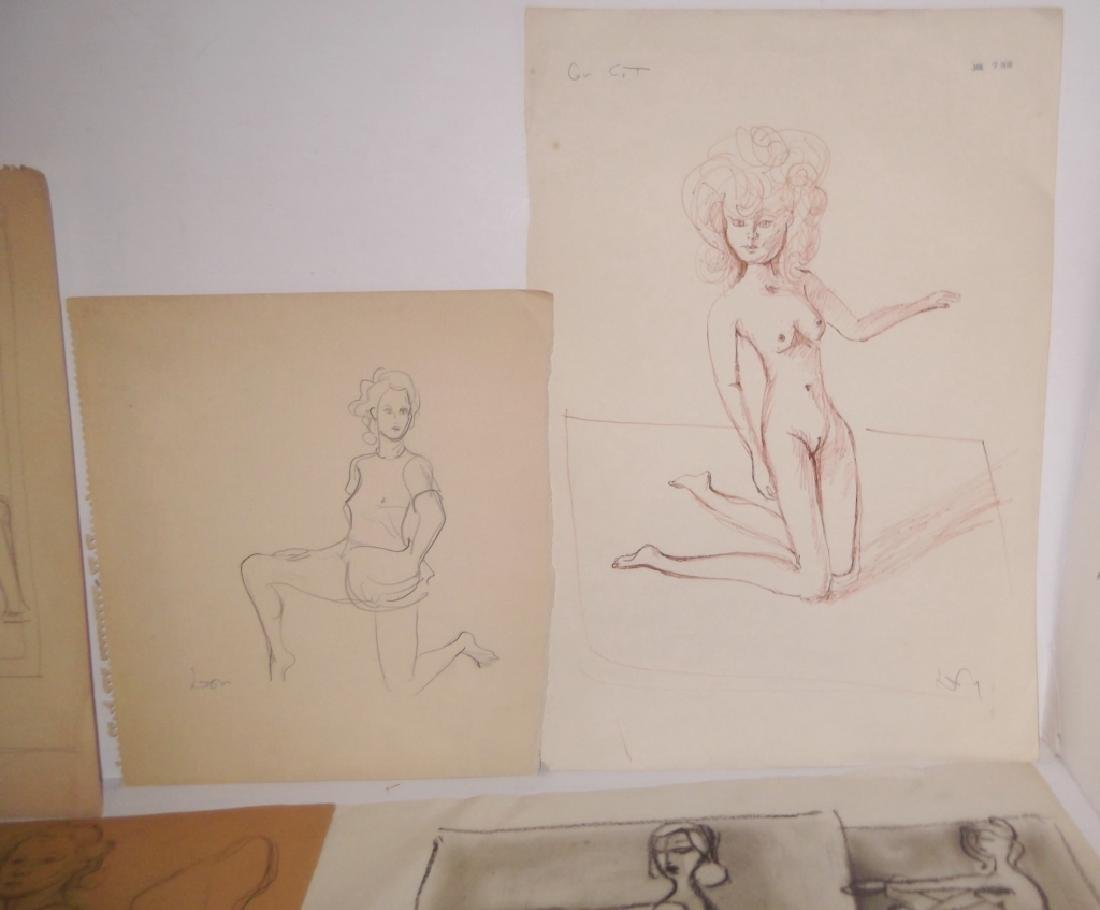 30 20th c. original mixed media drawings/sketches - 5