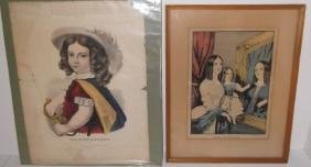 2 Currier & Ives colored etchings/engravings