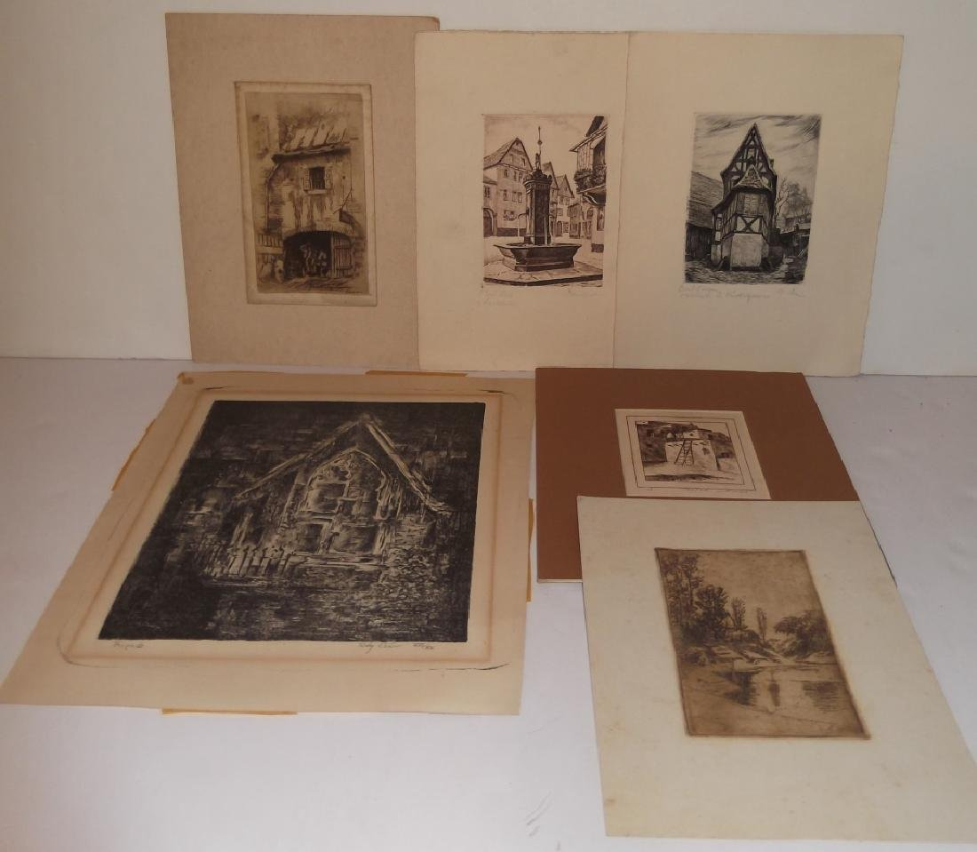 6 lithographs/etchings/engravings