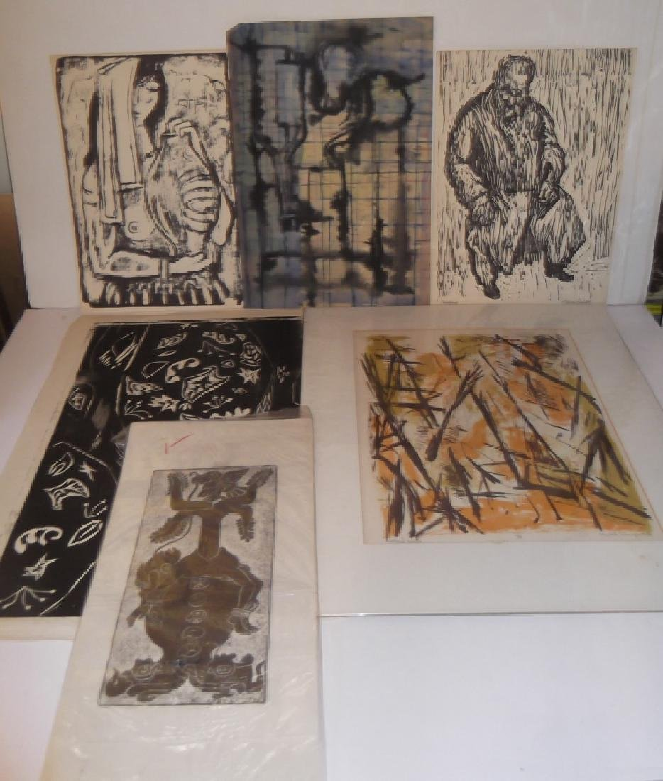 6 20th century lithographs/etchings/engravings
