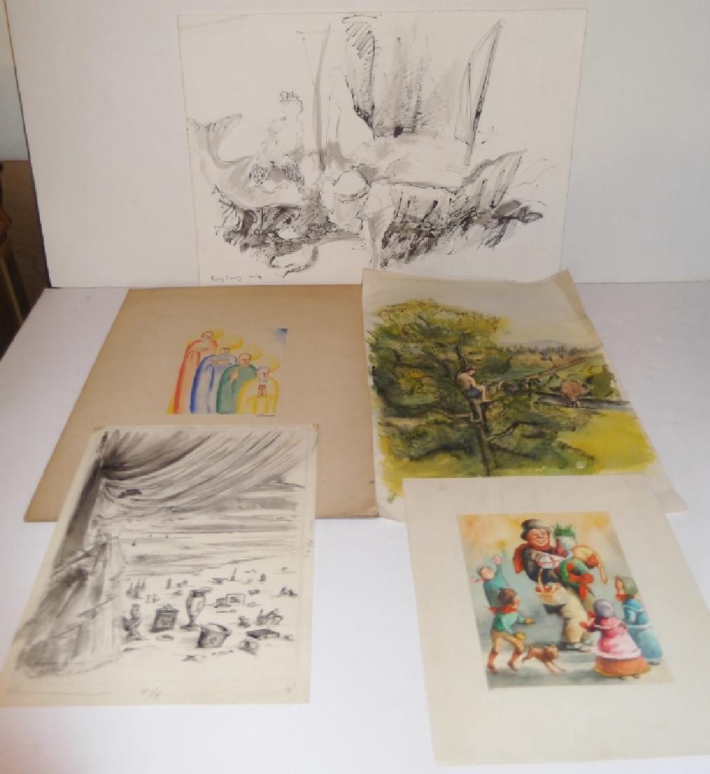 5 mixed media drawings