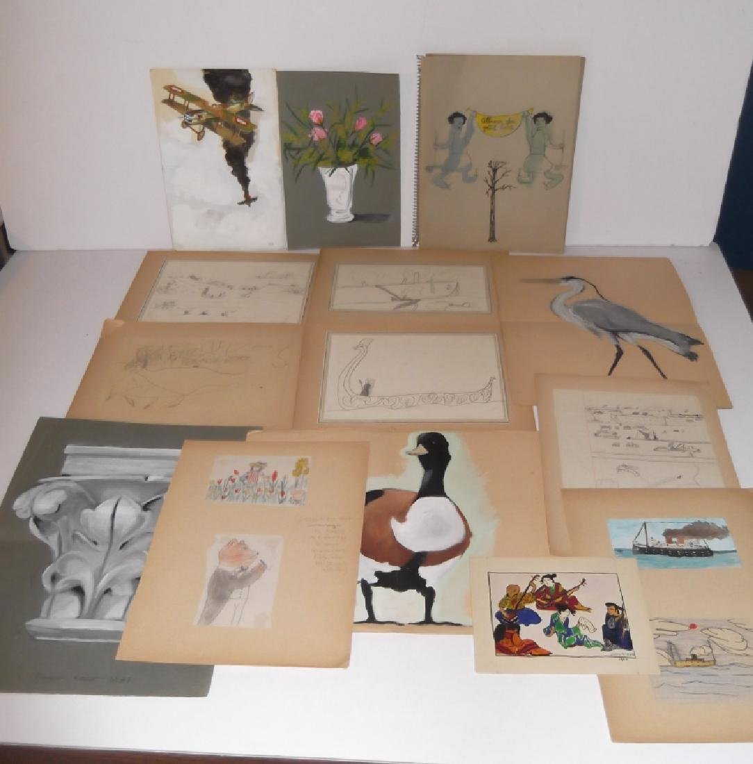 Folk Art mixed media drawings - 2