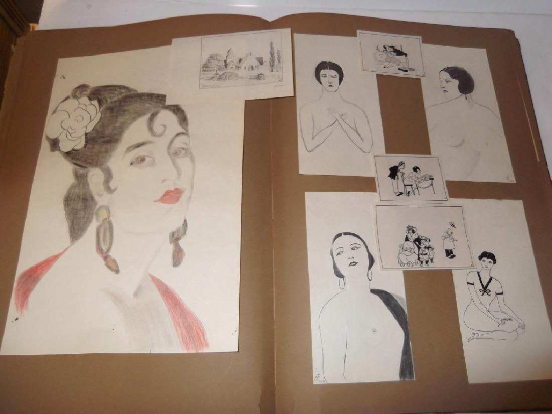 Vintage Scrapbook of 78 original folk art drawings