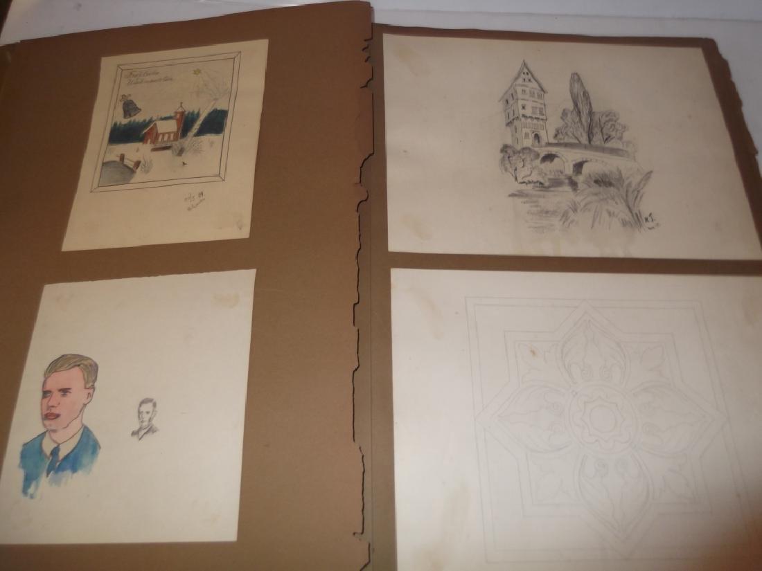Vintage Scrapbook of 78 original folk art drawings - 6