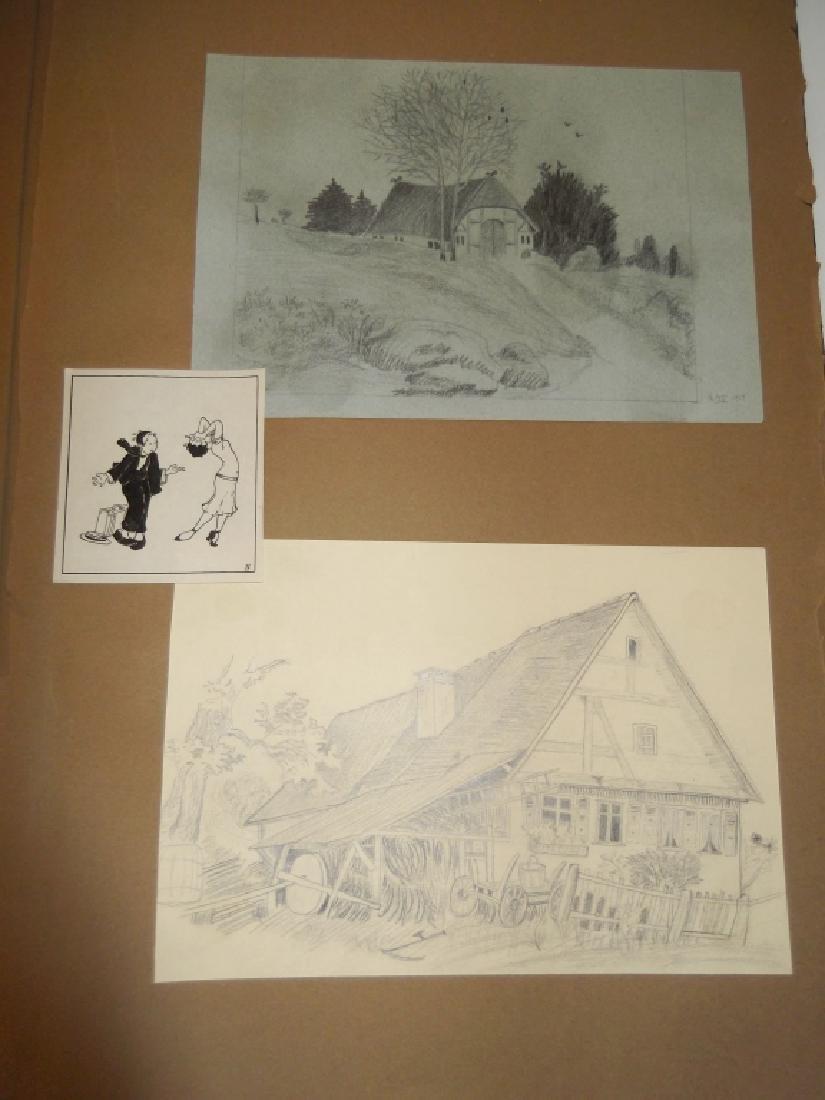 Vintage Scrapbook of 78 original folk art drawings - 7