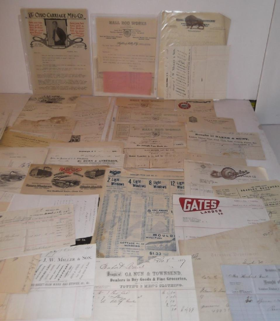 19th/20th century receipts, invoices, letter heads