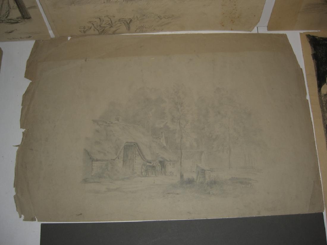 10 original 20th century mixed media drawings - 10