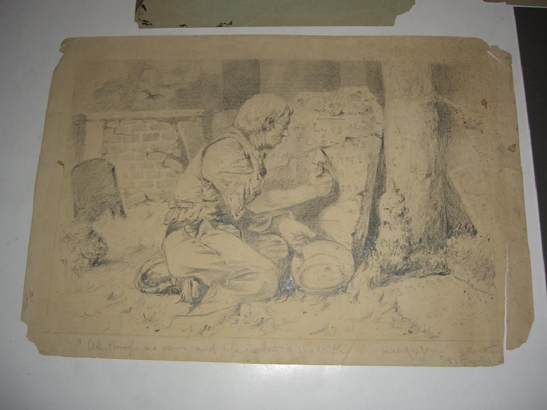 10 original 20th century mixed media drawings - 11
