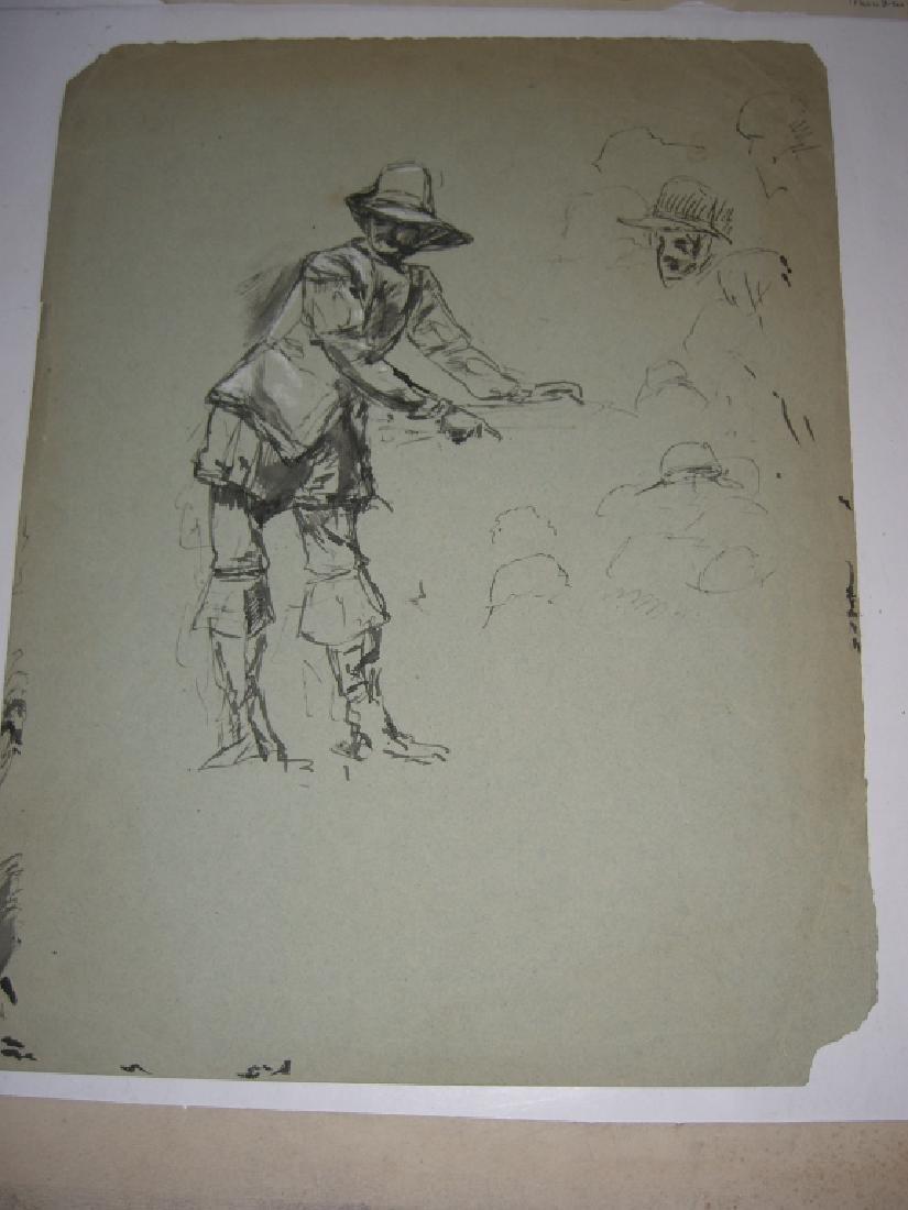 10 original 20th century mixed media drawings - 12