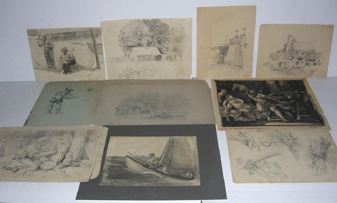 10 original 20th century mixed media drawings