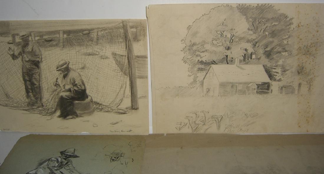 10 original 20th century mixed media drawings - 5