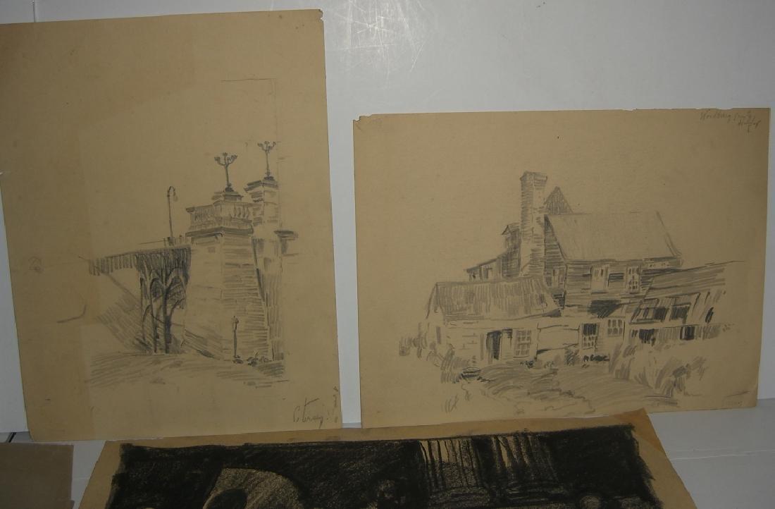 10 original 20th century mixed media drawings - 6