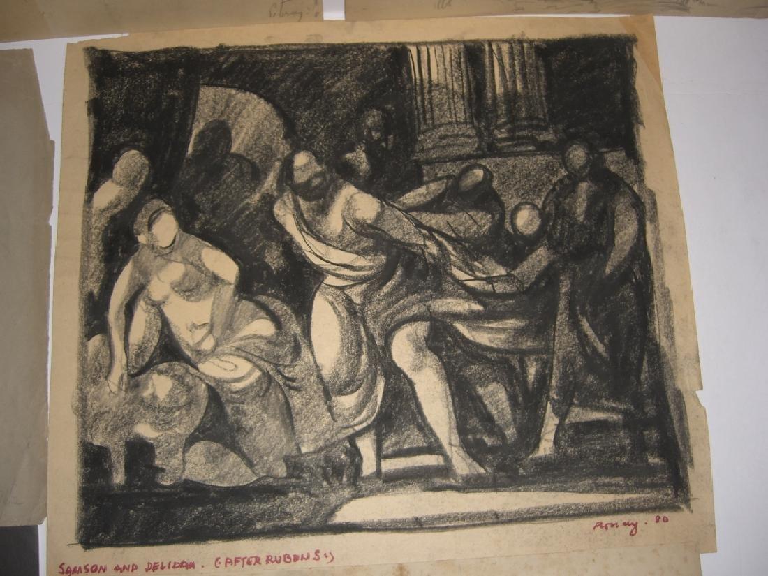 10 original 20th century mixed media drawings - 7