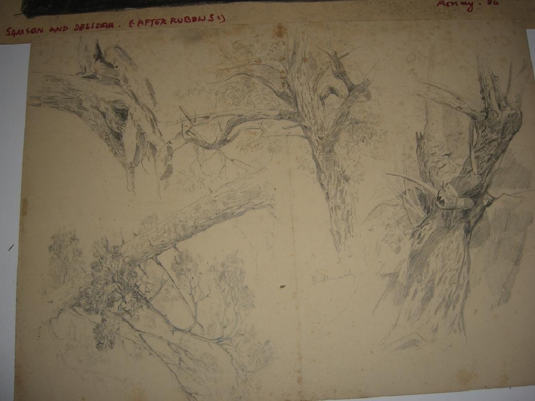 10 original 20th century mixed media drawings - 8
