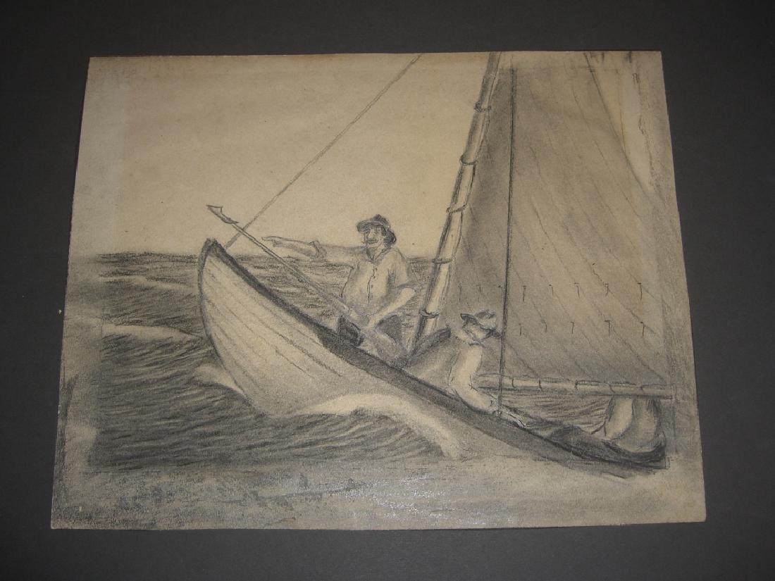 10 original 20th century mixed media drawings - 9