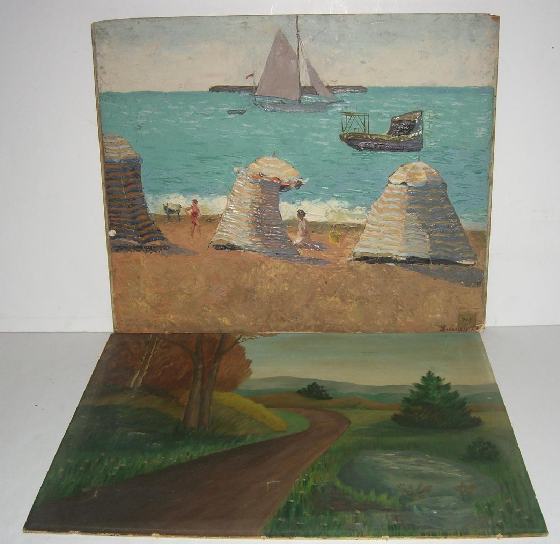 2 oil on board paintings
